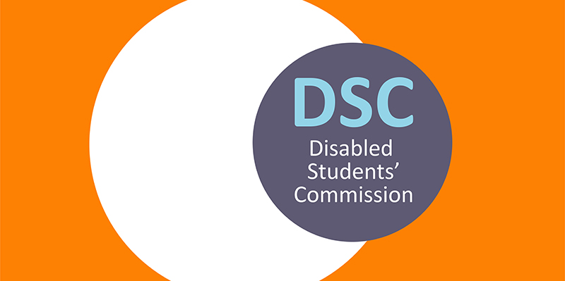 Disabled Students' Commission logo on orange background