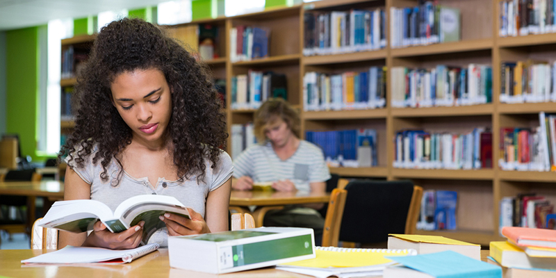 A student in the library reading a text book