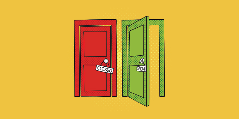 Drawing of two doors, one is open and one is closed